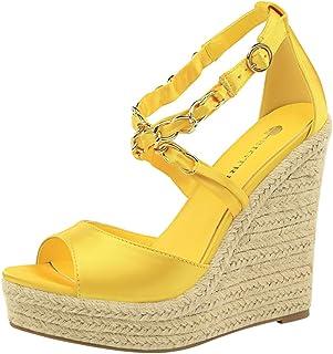 TAOFFEN Women Fashion Wedge High Heels Summer Shoes Peep Toe