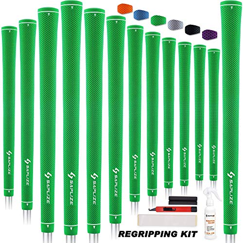 SAPLIZE Rubber Golf Grips, 13 Set with Complete Regripping Kit, Standard Size, Golf Club Grip, Green