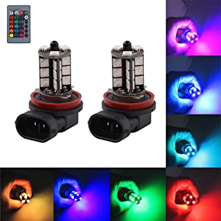 H11 H8 H16(JP) LED RGB Fog Lights Bulb Amber Yellow White Multicolor 16 Color Changing Switch Kit Strobe Lamp Bulbs for Car Trucks Remote Control Switch Error Free 12V 5050SMD Replacement【1797】