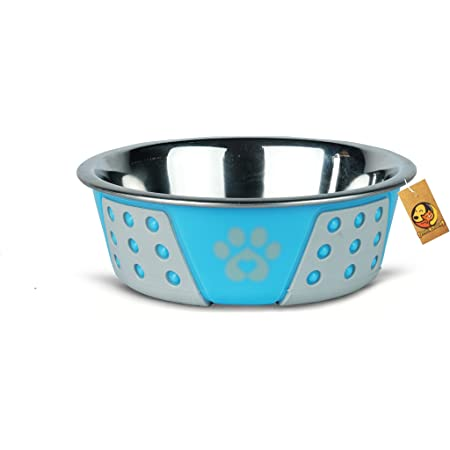 Foodie Puppies Hermosa Bowl Stainless Steel Paw Print Food and Water Feeding Bowl for Dogs (SkyBlue, Small)