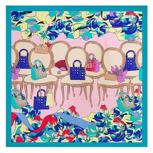 NRWYYD Mode Women Sjaal Luxury Brand Chair Bag Hijab zijde satijn sjaal Sjaals Foulard vierkante kop Sjaals 60 * 60CM???Lake Blue
