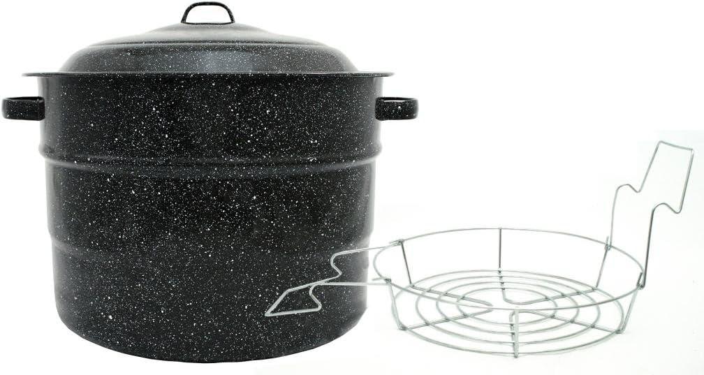 Granite Ware Steel/Porcelain Water-Bath Canner with Rack, 21.5-Quart, Black