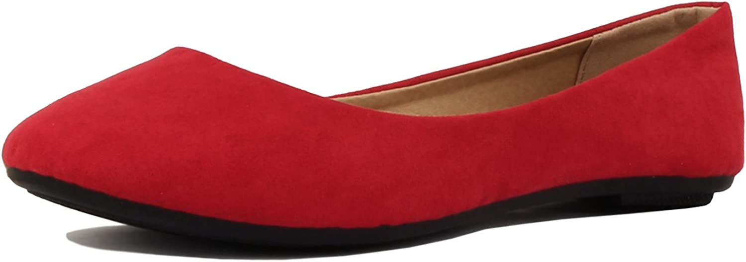Guilty shoes Guilty Heart   Womens Classic Comfortable Round Toe Slip On Ballet Everyday Flats