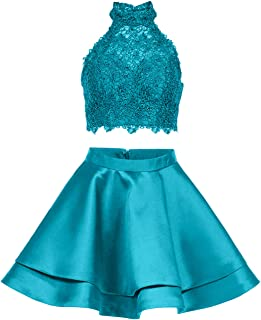 Libaosha Women's LIPOSA Girl's Lace Halter Short Prom Dress2 pc's