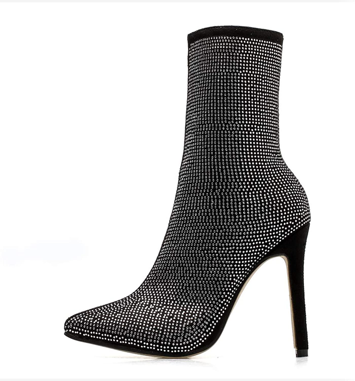 Womens High Heels Mid Calf Boots Side Zipper Pointed Toe Winter Warm Girls Booties Comfortable Platform shoes