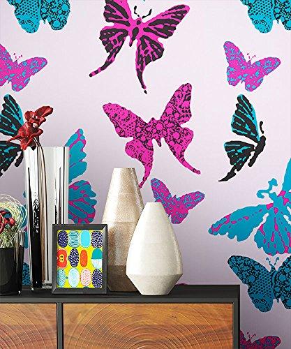 NEWROOM Kindertapete Rosa Schmetterlinge Kinder Papiertapete Lila,Pink,Türkis Papier Kindertapete Kinderzimmer Jung