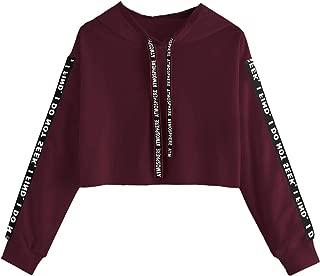 SOLY HUX Women's Letter Print Long Sleeve Crop Top Drawstring Hoodie Sweatshirt