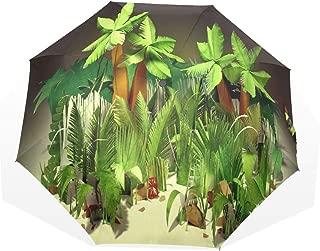 Umbrella Large Palm Leaf Wallpaper Travel Golf Sun Rain Windproof Umbrellas with UV Protection for Kids Girls Boys