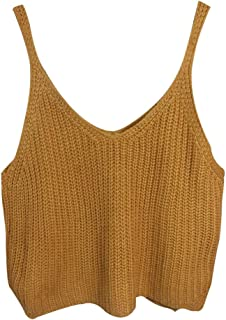 Women's Sleeveless V-Neck Crochet Crop Top Shirt