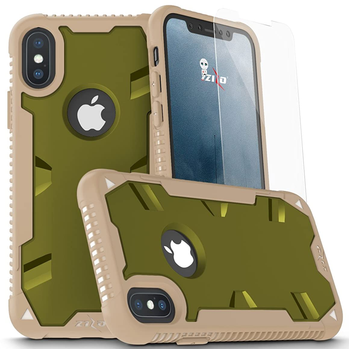 Zizo Proton 2.0 Series Compatible with iPhone X Case Military Grade Drop Tested with Tempered Glass Screen Protector iPhone Xs Case Desert CAMO Green