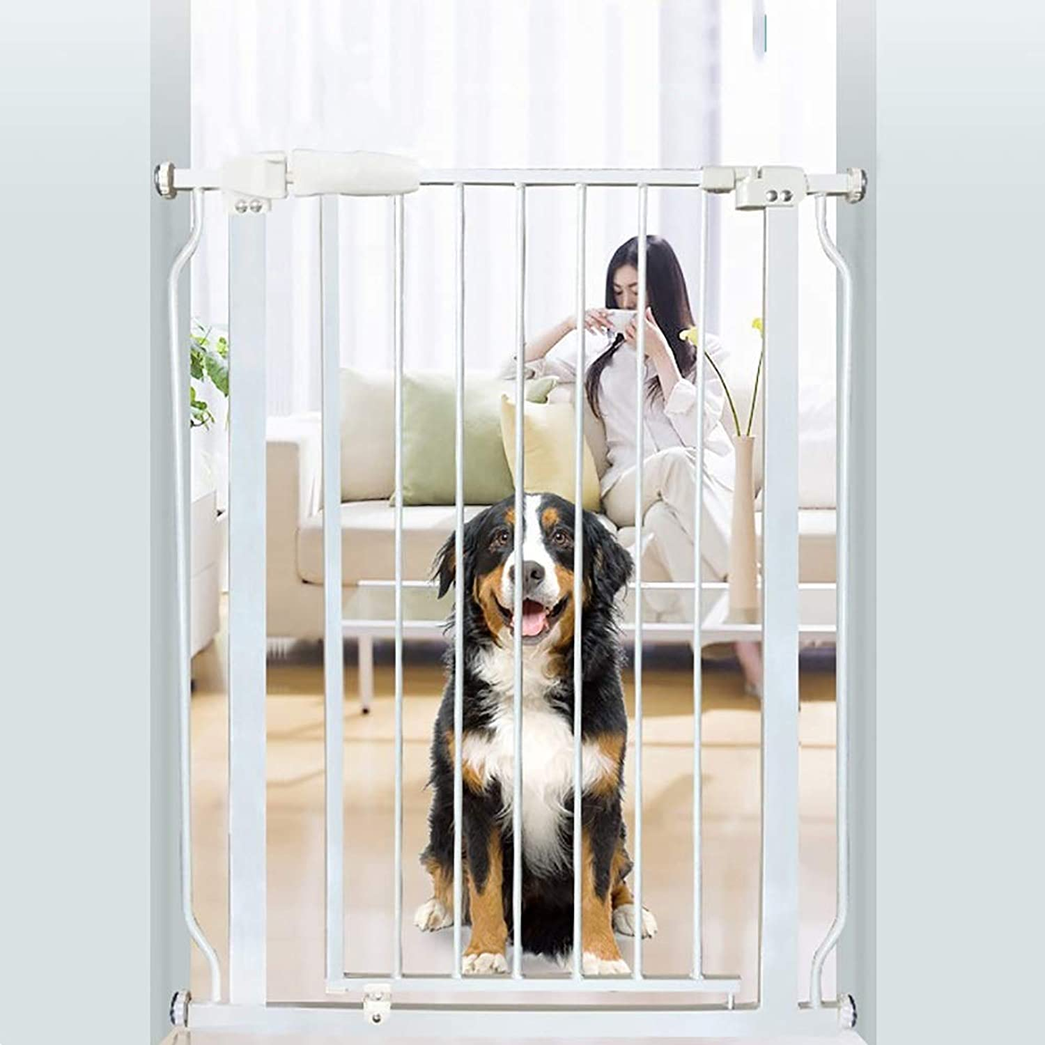 Baby Gates Pressure Mounts Baby Gates with Walkthrough Dog Door, 92cm Extra Tall White Safety Pet Gate for Stairs & Hallway, 74265.9cm Width (Size   Width 7485.9cm)