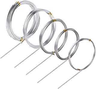 Silver Aluminum Craft Wire, 4 Sizes (1 mm, 1.5 mm, 2 mm,2.5 mm and 3 mm in Thickness) Bendable Metal Wire for DIY Sculpture and Crafts, 4 Rolls, Each Roll 16.4 Feet