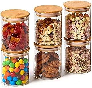 Annfly Lot de 6 bocaux en verre avec couvercles en bambou hermétiques pour la cuisine, le thé, le café, les grains, les bi...