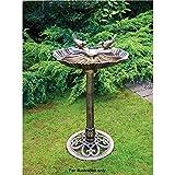 Bronze Effect Double Bird Bath Garden Stand Weather Resistant Centrepiece