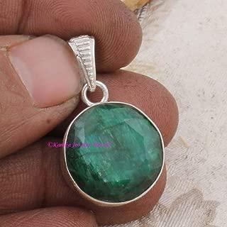 Emerald Pendant, 925 Sterling Silver Pendants for Womens, Round Gemstone Pendants, Handmade May Birthstone Pendants, Simple Pendant for Gift