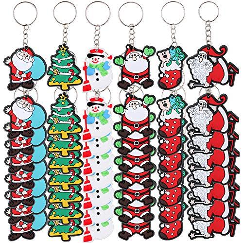FLOFIA 48pcs Llavero Navidad PVC Santa Claus Llavero Papa Noél Árbol de Navidad Muñeco de Nieve Regalo Creativo Navidad para Niños Cumpleaños Decoración Bolso Monedero (6 Estilos)