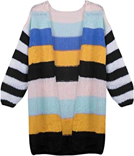 Womens Color Block Striped Cardigan Long Sleeve Open Front Casual Knit Sweaters Coats