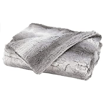 Sunbeam Faux Fur Throw Heated Blanket, White and Beige