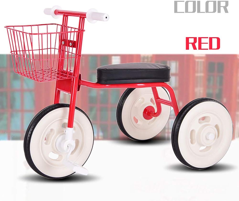 Cpippo Fahrrad Kinderwagen 3 in 1 Kinderdreirad Eingebaute Geruscharme Dichtung Kinder Dreirad ab 1 Jahr mit Kunstharzreifen Kann 80KG tragen An Parks, Schotterstraen, Reisen,rot