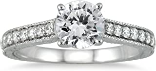 AGS Certified 1 Carat TW Diamond Ring in 14K White Gold (I-J Color, I2-I3 Clarity)
