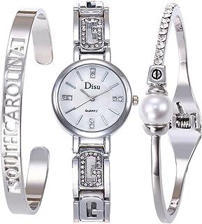 OEM SYSTEMS COMPANY Conjunto de Reloj de Cuarzo de Moda Diamante, Acero de Pulsera de