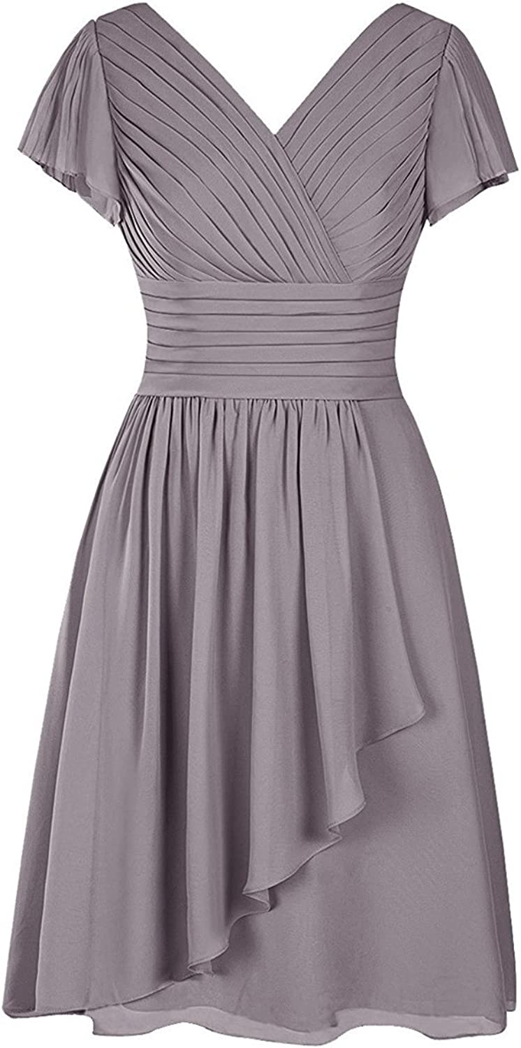 JudyBridal Women's VNeck Mother's Dress Knee Length Ruched Prom Party Evening Dress