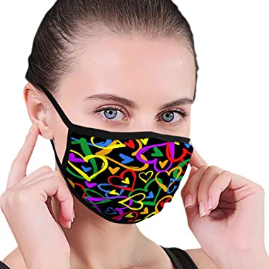 Breathable Adjustable Mouth Face Cover for Sport Gay Pride Flag Rainbow Colored Hearts