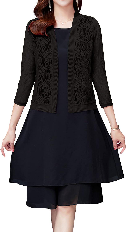 Hixiaohe Women's Long Sleeve Lace Cardigan Open Front Crochet Short Shrug Cover Up