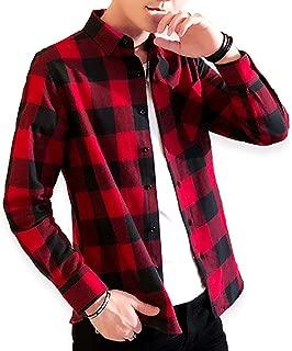 [ライオンガーデン] スリム 厚手 秋冬 チェック シャツ チェックシャツ ネルシャツ M ~ 2XL ユニセックス