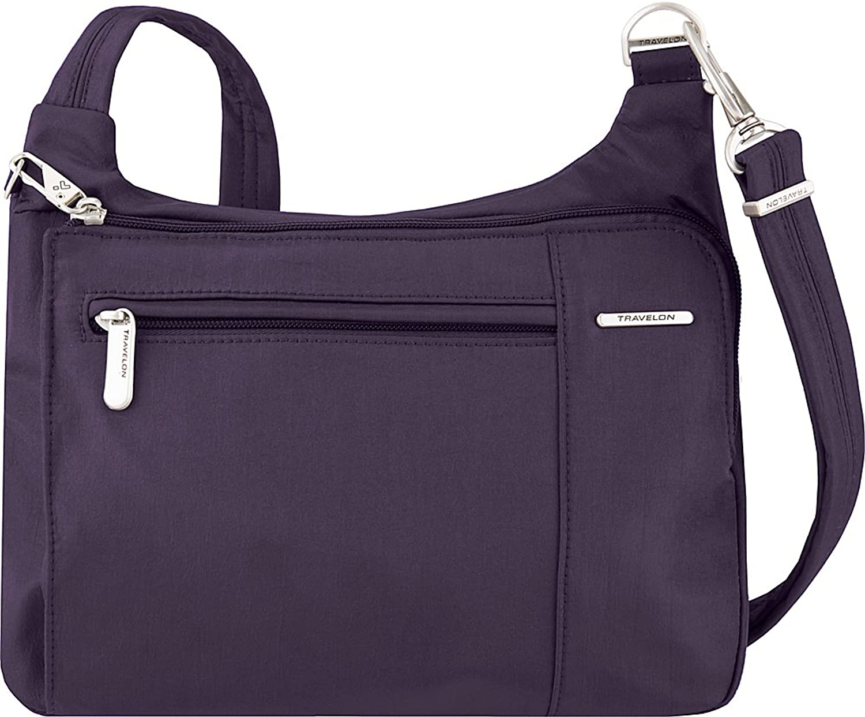 Travelon AntiTheft Asymmetric East West Bag  Small Nylon Crossbody for Travel & Everyday
