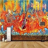 Iusasdz カスタム3Dロック音楽のレトロな背景の壁紙壁画400X280Cm