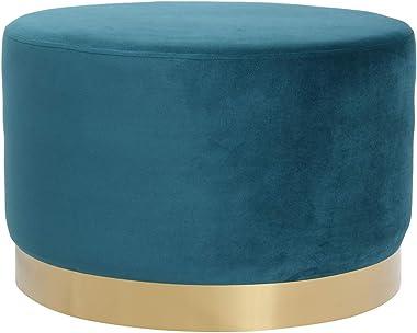 Miliboo Pouf Rond en Velours Bleu Canard et métal doré 54 cm Amaya