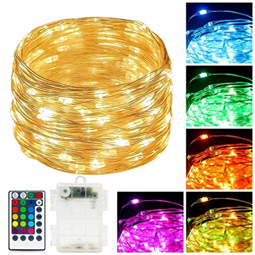Led Fairy Lights Battery Operated 39ft 120 LED String Lights with Timer Remote Controll Fairy String Light Color Changing RGB Warm White,Twinkling Colored Fairy Light for Bedroom Decor Indoor Outdoor