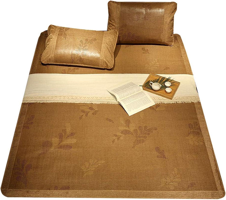 QB Summer Sleeping Mat Summer Sleeping Pad Rattan mat and Pillow Shams Set Three-Piece Folding Double Single 5sizes (color   B, Size   Full Double)