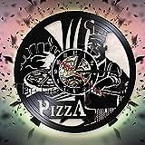 WTTA Wanduhr Pizza Shop Feinschmecker Wandbehang Karte Dekoration Wanduhr Pizza Maker Silhouette...