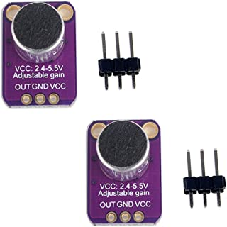 HiLetgo 2pcs تقویت کننده میکروفن الکتروتکنیک MAX4466 ماژول قابل تنظیم تقویت کننده آبی Breakout Board برای Arduino