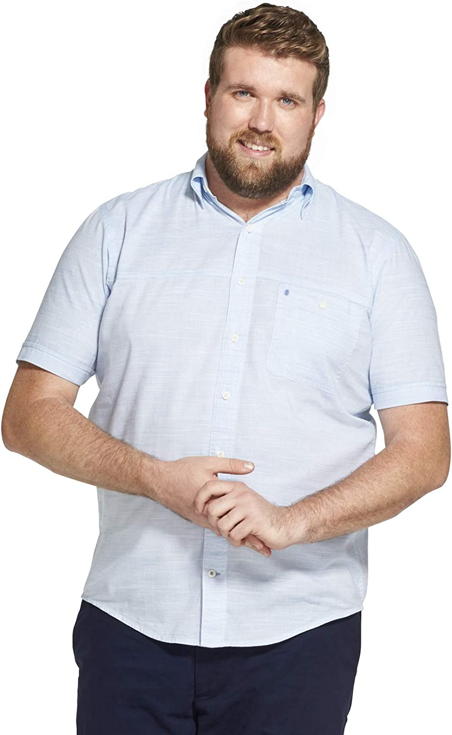 IZOD Men's Big and Tall Saltwater Dockside Chambray Short Sleeve Button Down Solid Shirt (Discontinued)