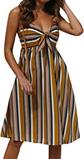 LIKESIDE Dress Casual Fashion Sexy Strap Strappy Stripe Leaking Back Dresses Yellow