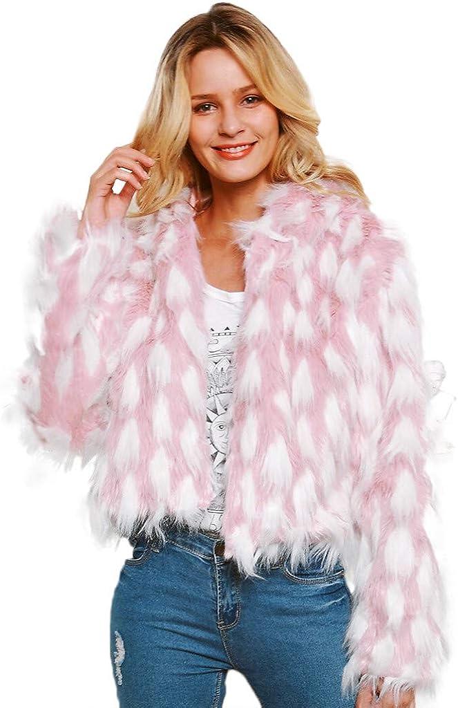 Zainafacai Women Luxury Winter Warm Fluffy Faux Fur Zip Up Hooded Short Pink Jacket with White Polka Dots