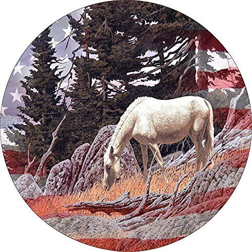Hiram Cotton Reifenabdeckung Central Horse & Flag Mountain mit US-Flagge Ersatzreifenabdeckung für mittig montierte Rückfahrkameraöffnungen 14-17 Zoll
