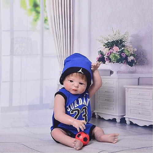 Babypuppen 57cm Reborn - Silikon Ganz  Reborn Realistische Neugeborene Puppen Mit Blauer Kleidung Geburtstagsgeschenk Spielzeug Kann Gewaschen Werden