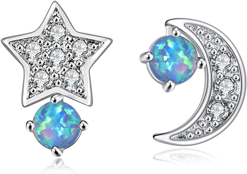 CiNily specialty shop Womens Star Moon Earrings for Girls OFFicial mail order Plated Cute Opal Gold