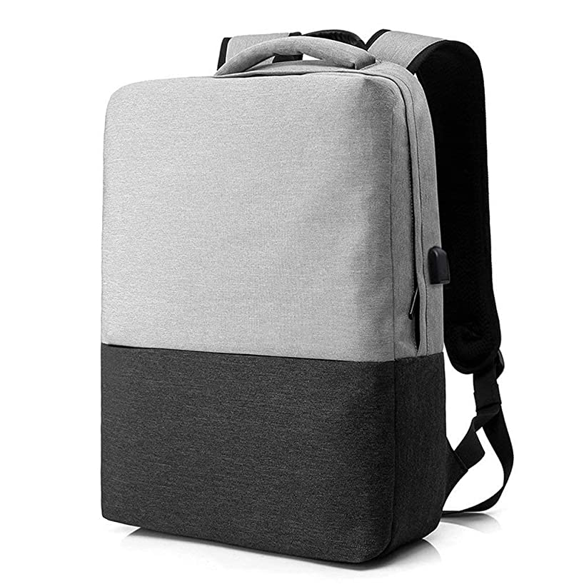 TONGSH Business Laptop Backpack 15.6 Notebook Rucksack Casual Daypack with USB Interface Leather Handle for Women Men (Color : Gray Black)
