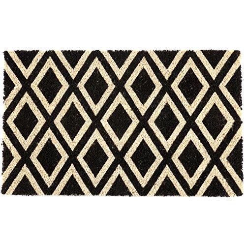 Entryways P2027 - Felpudo de fibra de coco con reverso de PVC antideslizante y rombos, negro/blanco, 40 x 60 x 1.4 cm