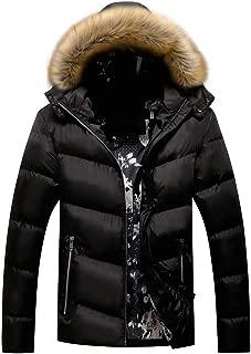 wuliLINL Men Winter Lightweight Thickened Cotton Padded Coat Zipper Puffer Jacket with Detachable Hood
