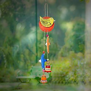 Aakriti Art Creations Wood & Metal Hand-Painted Home Decor Multicolor Multicolor Bird Theme Windchime