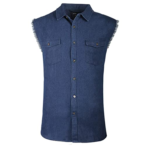 e1b73fd1a7c NUTEXROL Men s Sleeveless Denim Cotton Shirt Biker Vest 2 Front Pockets