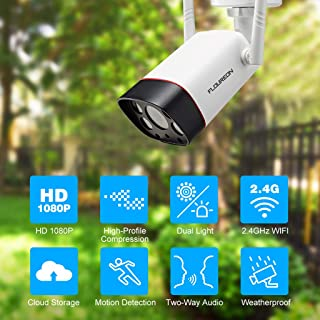 floureon Dual Light IP Wireless Bullet Security Camera 1080P Motion Detection IR Night Vision WiFi 2-Way Audio IP66 for Outdoor Security