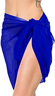LA LEELA Women Plus Size Swimsuit Coverup Summer Beach Wrap Sarong Solid Plain A