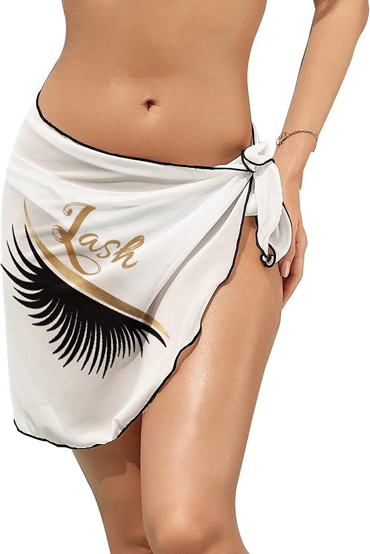 JINJUELS Women's Bikini Swimsuit Cover Up Beauty Eyelash Summer Beach Wrap Skirt Pareo Sarong